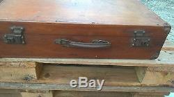 Vintage Portuguese Suitcase Rare Wooden Box Trunk Train Case Luggage From 40´s