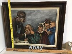 Vintage Signed Framed Oil Painting On Board From France of Dentists Giving Exams