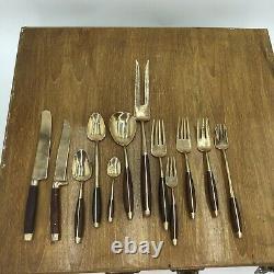 Vintage Wood & Brass Bronze Flatware Set -Original Wooden Box from Bangkok