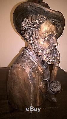 Vintage Wood Bust of Bavarian Hunter from Oberammergau 12 tall