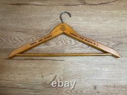 Vintage Wooden Clothes Hangers Lot of 5 from Various Businesses 1920s to 1940s