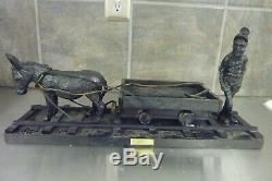 Vtg 20 Handcrafted from Coal, Miner withDonkey &Cart American Folk Art Sculpture