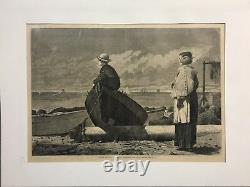 Winslow Homer -Wood engravings from Harpers. Dad's Coming / Waiting For a Bite