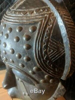 Yaure Mask with Metal Decorations from Ivory Coast Authentic Wood African Art